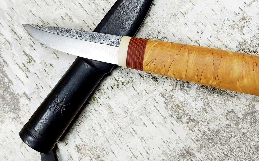 custom puukko knife by Paige May, Wilderness Effects